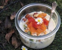 Deluxe Bircher with a Tropical Fruit & Cinnamon Compote